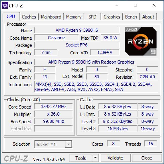 Detalii despre procesor afișate de CPU-Z