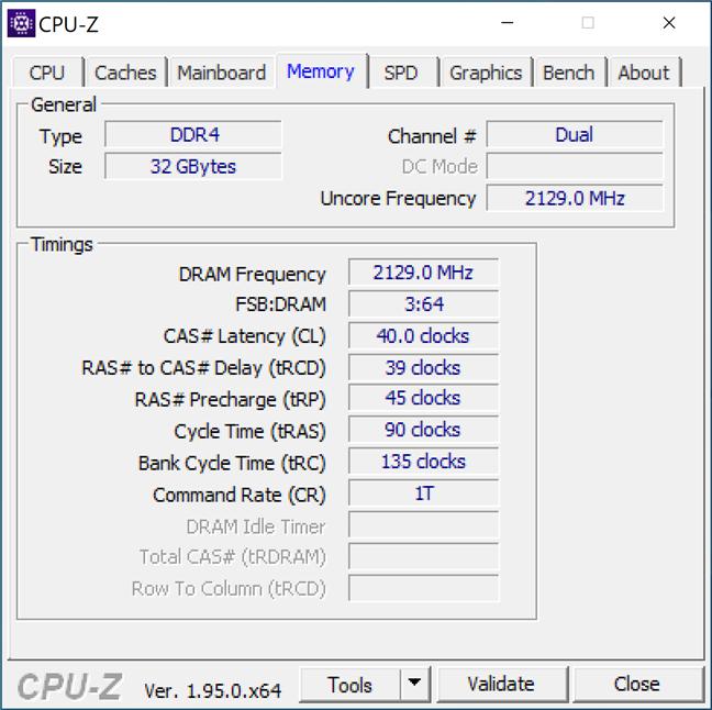 Detalii despre RAM afișate de CPU-Z