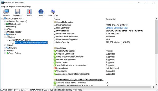 Detalii despre SSD afișate de HWiNFO64