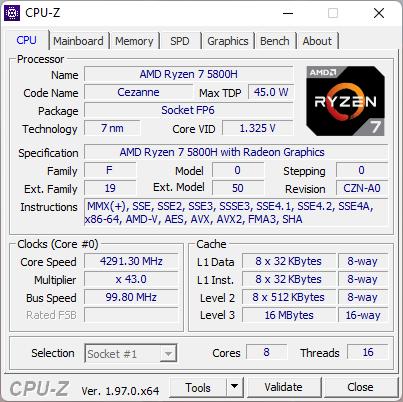 ASUS ROG Strix G17 G713QC: Detalii procesor