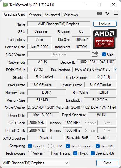 ASUS ROG Strix G17 G713QC: Detalii cip grafic procesor