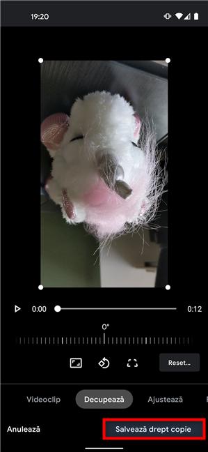 Salvează o copie a videoclipului cu noua rotație