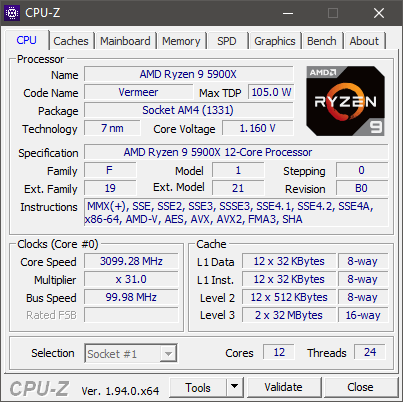 AMD Ryzen 9 5900X: Specificații afișate de CPU-Z