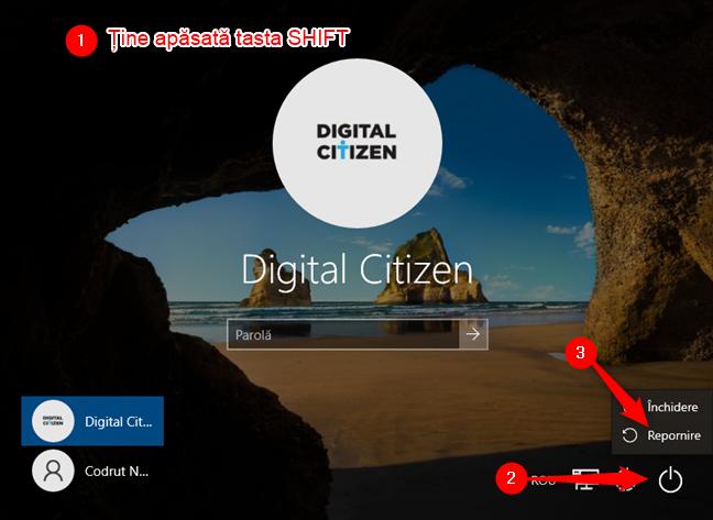 Cum pornești Windows 10 în Safe Mode with Networking de pe ecranul de autentificare