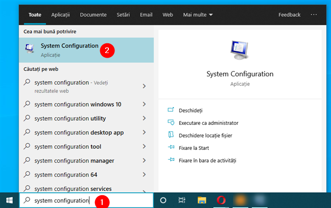 Deschide msconfig (System Configuration)