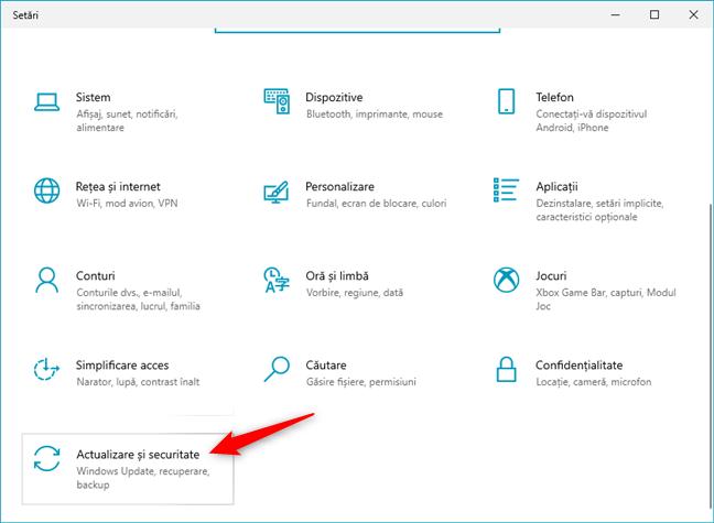 Actualizare și recuperare în Setările din Windows 10