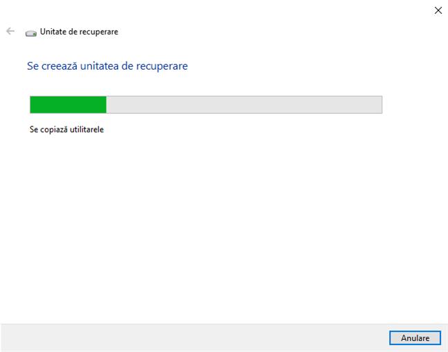 Crearea unei unități de recuperare Windows 10