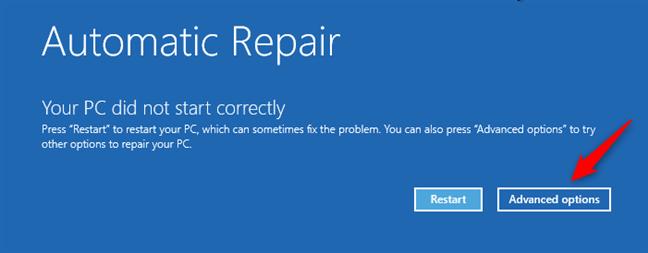 Advanced options (Opțiuni complexe) pe ecranul Automatic repair (Reparare automată)