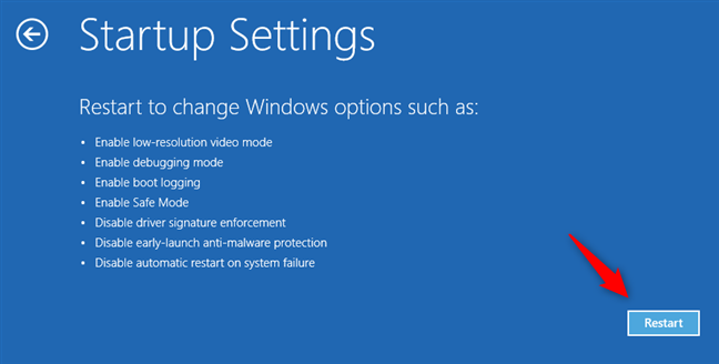 Alege să repornești Windows 10