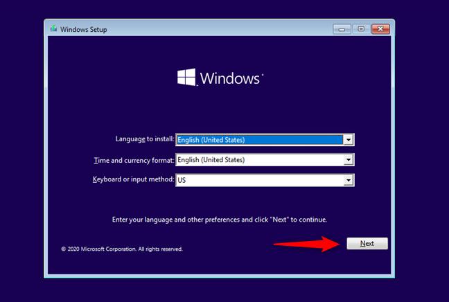 Primul ecran al instalării Windows 10
