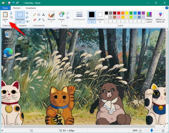 Screenshot al întregului ecran, lipit în Paint