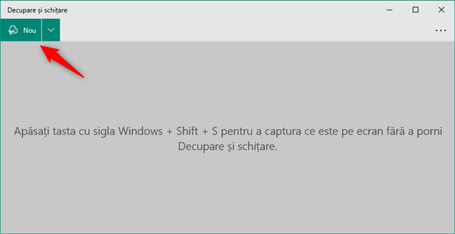 Începe o captură de ecran în Decupaj și schiță din Windows 10