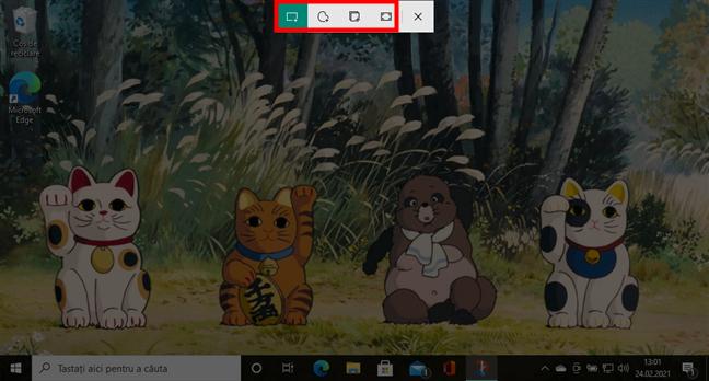 Opțiuni de screenshot oferite de Decupaj și schiță în Windows 10