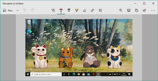 Editarea unui screenshot cu Decupaj și schiță în Windows 10