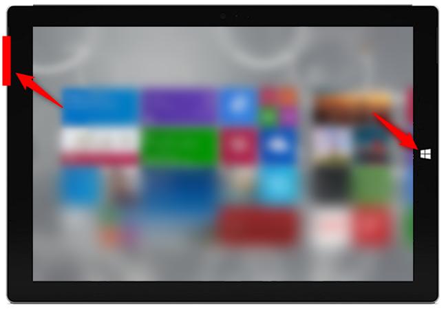 Captură de ecran pe o tabletă cu Windows fără tastatură fizică