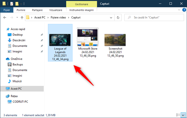 Screenshoturile realizate cu Xbox Game Bar au nume unice