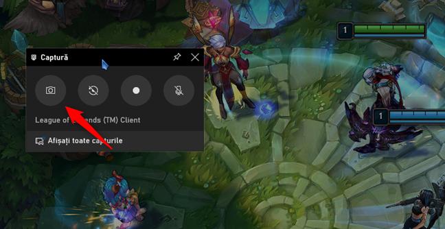Butonul Faceți o captură de ecran din Xbox Game Bar, în Windows 10