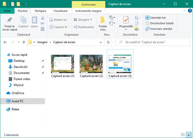 Capturile de ecran sunt salvate de Windows în folderul tău de Imagini