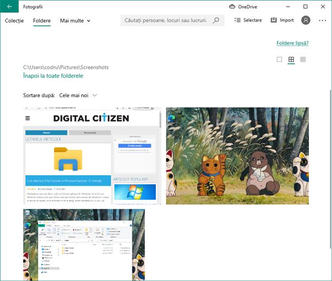 Capturi de ecran vizualizate în aplicația Fotografii din Windows 10