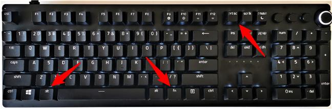 Combinații de taste pentru capturi de ecran de pe tastaturi ce includ tasta Fn