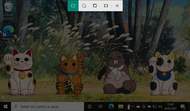 Screenshot al unei regiuni de pe ecran în Windows 10