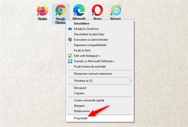 Deschiderea Proprietăților unei scurtături de browser