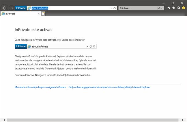 Internet Explorer deschis în modul InPrivate