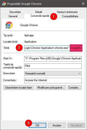 Scurtătură Chrome ce deschide o fereastră privată