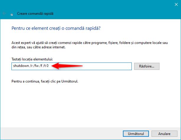 Cum creezi o scurtătură pentru UEFI BIOS