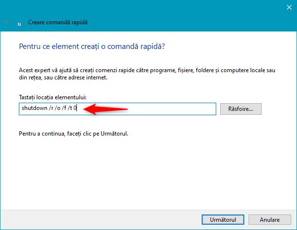 Cum creezi o scurtătură către mediul de recuperare al Windows 10