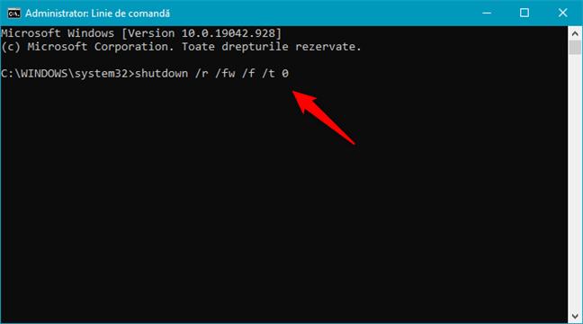 Deschide UEFI BIOS rapid, rulând comanda shutdown /r /fw /f /t 0