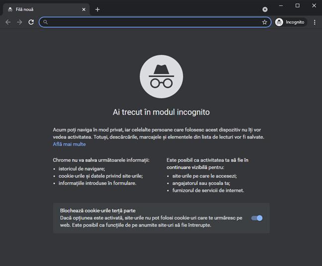 Modul Incognito din Google Chrome