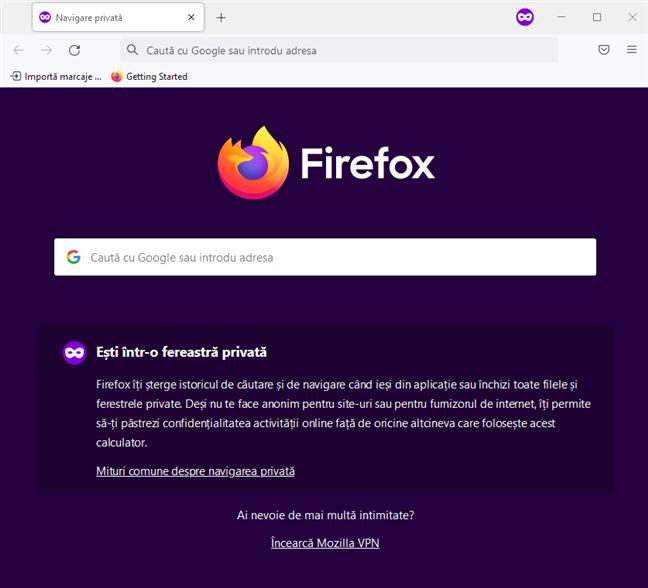 Navigarea Privată din Firefox