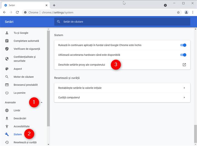 Deschide setările proxy ale computerului tău pentru a seta un proxy pentru Chrome