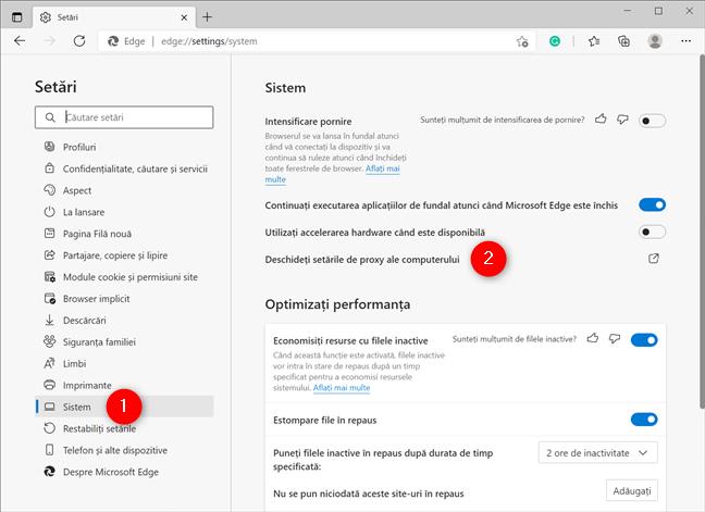 Deschide setările proxy ale computerului tău pentru a seta un proxy în Edge