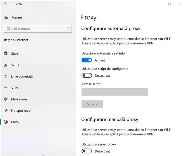 Configurează setările pentru serverul proxy din Windows 10
