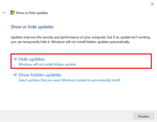 Arată sau ascunde actualizări în Windows 10