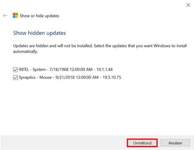 Selectează actualizările ascunse pe care vrei să le arăți din nou și să le instalezi în Windows 10
