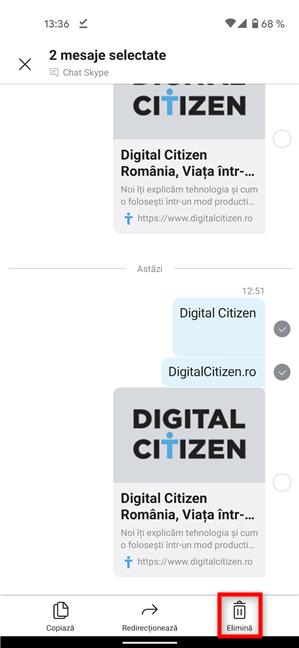 Cum ștergi mesajele din Skype în Android și iOS