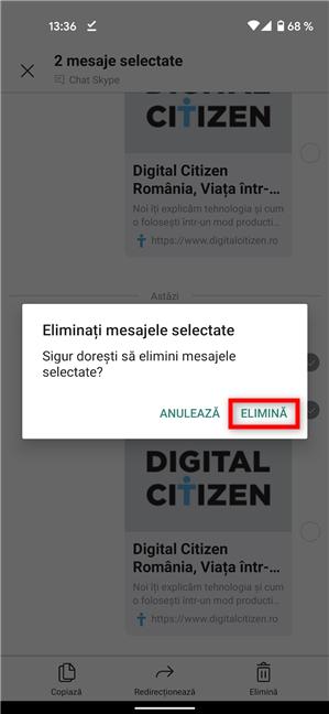 Confirmă ștergerea mesajelor în Android și iOS