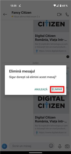 Confirmă ștergerea unui mesaj pe Android