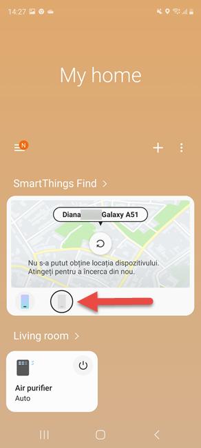 Selectează dispozitivul pierdut în SmartThings Find