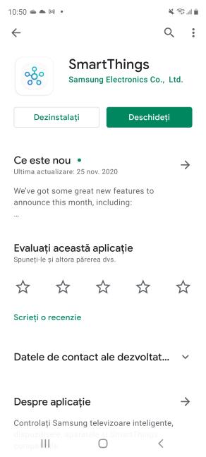 Instalează și deschide aplicația SmartThings