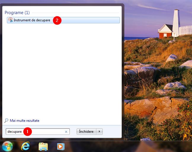 Deschide Instrumentul de decupare pentru Windows 7 din Meniul Start
