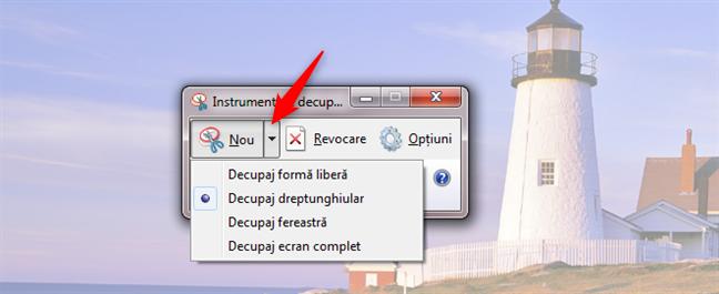 Selectează tipul de screenshot din Instrumentul de decupare din Windows 7