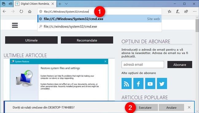 Deschide Linia de comandă din Microsoft Edge