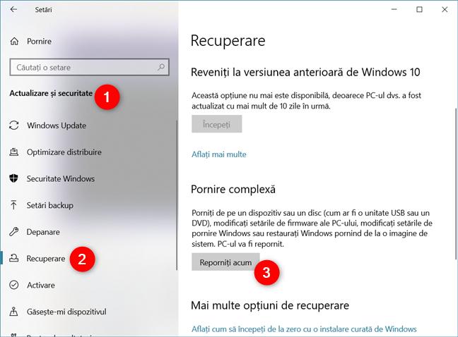 Accesarea opțiunilor de Pornire complexă din Windows 10