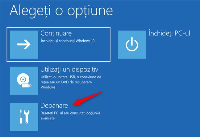 Butonul Depanare de pe ecranul Alegeți o opțiune