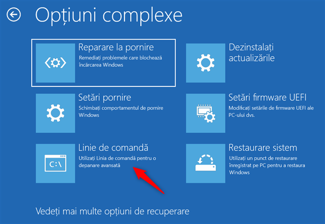 Deschide Linia de comandă din opțiunile de recuperare ale Windows 10