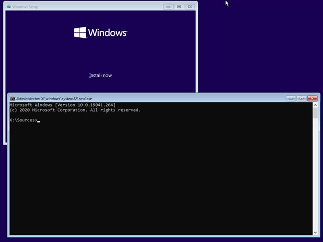 Apasă Shift + F10 pentru a deschide Linia de comandă în timpul instalării Windows 10